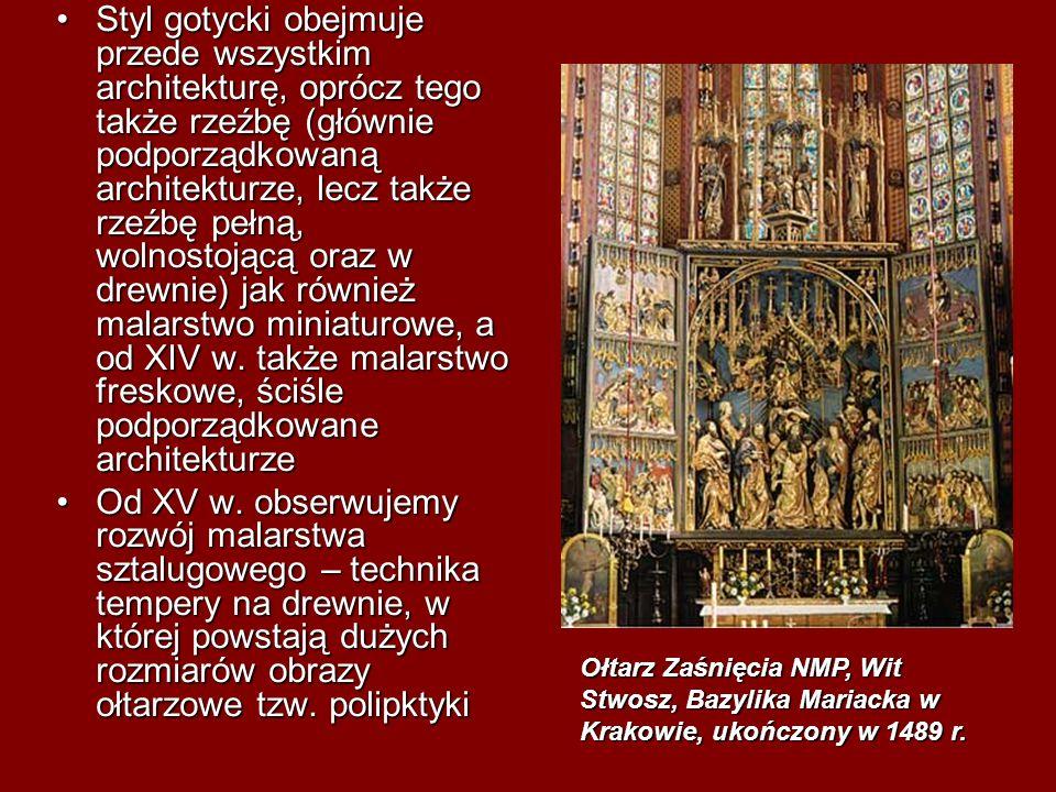 Styl gotycki obejmuje przede wszystkim architekturę, oprócz tego także rzeźbę (głównie podporządkowaną architekturze, lecz także rzeźbę pełną, wolnost
