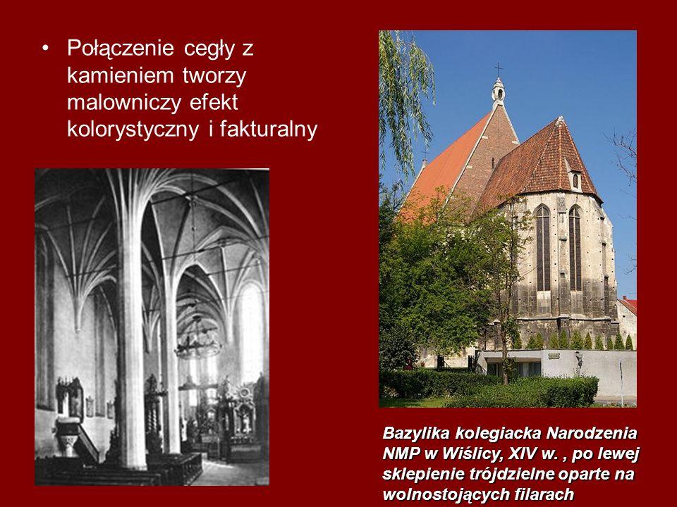 Połączenie cegły z kamieniem tworzy malowniczy efekt kolorystyczny i fakturalny Bazylika kolegiacka Narodzenia NMP w Wiślicy, XIV w., po lewej sklepie
