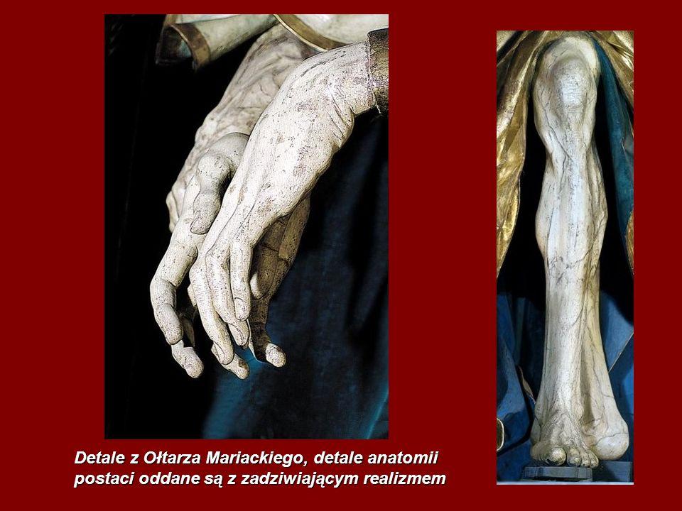 Detale z Ołtarza Mariackiego, detale anatomii postaci oddane są z zadziwiającym realizmem