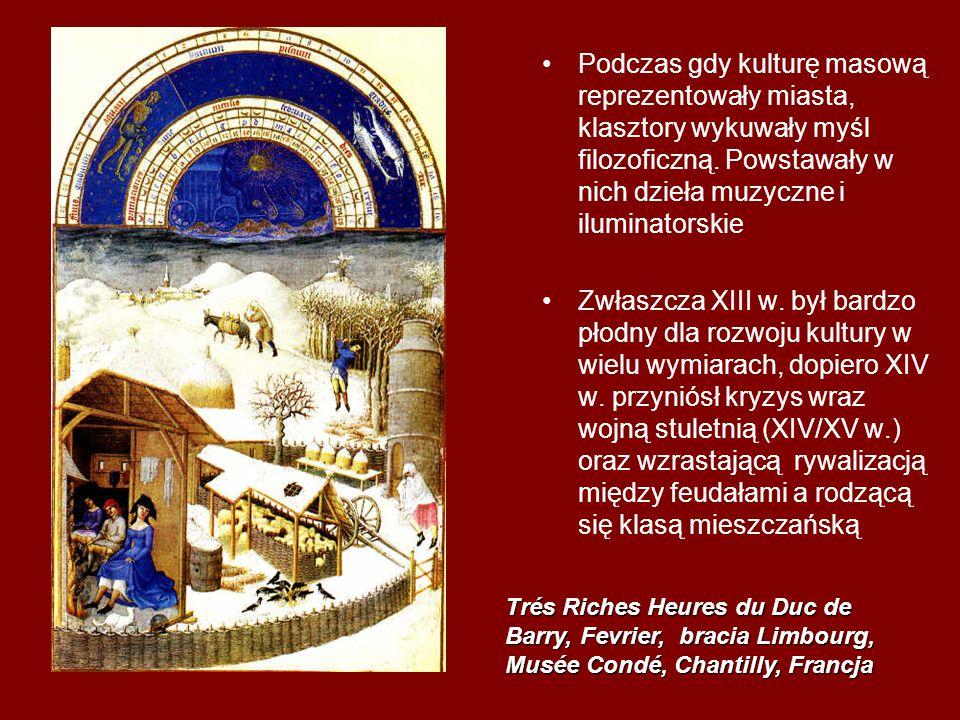 RELIGIA Późne średniowiecze to okres wzmożonej żarliwości religijnej, która ze szczególnie przejawiała się w mistycyzmie – dążeniu do bezpośredniego kontaktu z Bogiem Zapał z jakim wierni oddawali się duchowemu i intelektualnemu zgłębianiu wiary znalazł wyraz w wyprawach krzyżowych oraz budowie katedr Wzrasta zainteresowania takimi tematami religijnymi jak męka i śmierć Chrystusa, natomiast Matka Boska staje się szczególnie czczona i poświęca się jej wyjątkowo reprezentacyjne kościoły