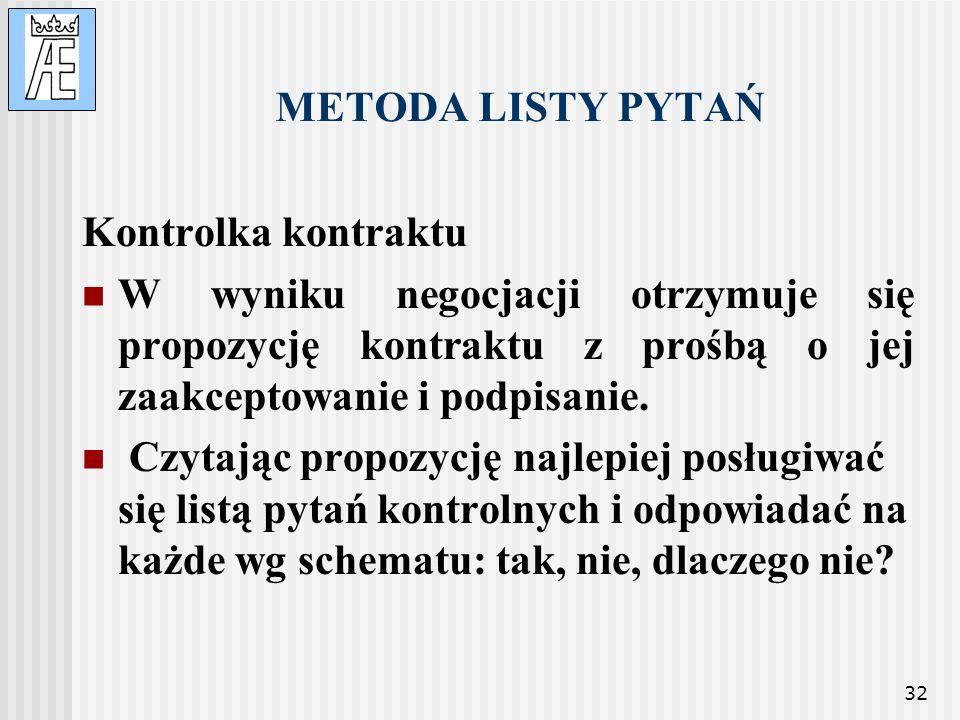32 METODA LISTY PYTAŃ Kontrolka kontraktu W wyniku negocjacji otrzymuje się propozycję kontraktu z prośbą o jej zaakceptowanie i podpisanie. Czytając