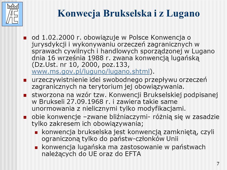 7 Konwecja Brukselska i z Lugano od 1.02.2000 r. obowiązuje w Polsce Konwencja o jurysdykcji i wykonywaniu orzeczeń zagranicznych w sprawach cywilnych