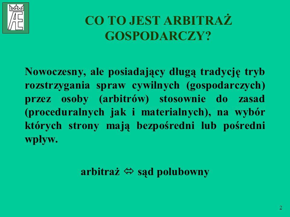 13 ZALETY ARBITRAŻU część III Jednoinstancyjność postępowania arbitrażowego sąd arbitrażowy jest w zasadzie jednoinstancyjny - zależy to od woli stron, orzeczenie jest ostateczne, nieodwołalne.