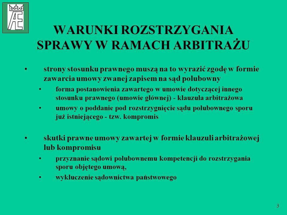 14 NIEKTÓRE STAŁE SĄDY ARBITRAŻOWE Sąd Arbitrażowy przy Krajowej Izbie Gospodarczej w Warszawie (www.sadarbitrazowy.pl)www.sadarbitrazowy.pl Międzynarodowy Sąd Arbitrażowy dla Żeglugi Morskiej i Śródlądowej w Gdyni przy Krajowej Izbie Gospodarki Morskiej (http://www.kigm.pl/)http://www.kigm.pl/ Londyński Sąd Arbitrażu Międzynarodowego z siedzibą w Londynie (http://www.lcia-arbitration.com/)http://www.lcia-arbitration.com/ Centrala Arbitrażu Federalnych Izb Gospodarczych w Wiedniu (www.wko.at/arbitration/engl/index.htm)www.wko.at/arbitration/engl/index.htm Instytut Arbitrażu Sztokholmskiej Izby Handlowej w Sztokholmie (www.chamber.se/arbitration/english/index.html)www.chamber.se/arbitration/english/index.html Sąd Arbitrażowy przy Międzynarodowej Izbie Handlowej w Paryżu (www.iccwbo.org/index_court.asp)www.iccwbo.org/index_court.asp Sąd Arbitrażowy przy Amerykańskim Stowarzyszeniu Arbitrażowym (www.adr.org/index2.1.jsp)www.adr.org/index2.1.jsp