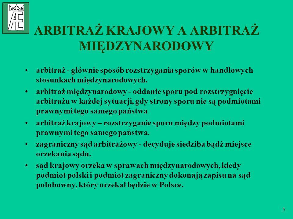 6 MIĘDZYNARODOWA UZNAWALNOŚĆ POSTANOWIEŃ ARBITRAŻOWYCH Protokół o klauzulach arbitrażowych z dnia 24.09.1923 o uznawaniu ważności zapisu i klauzuli arbitrażowej (Polska ratyfikowała 21.05.1931 – Dz.