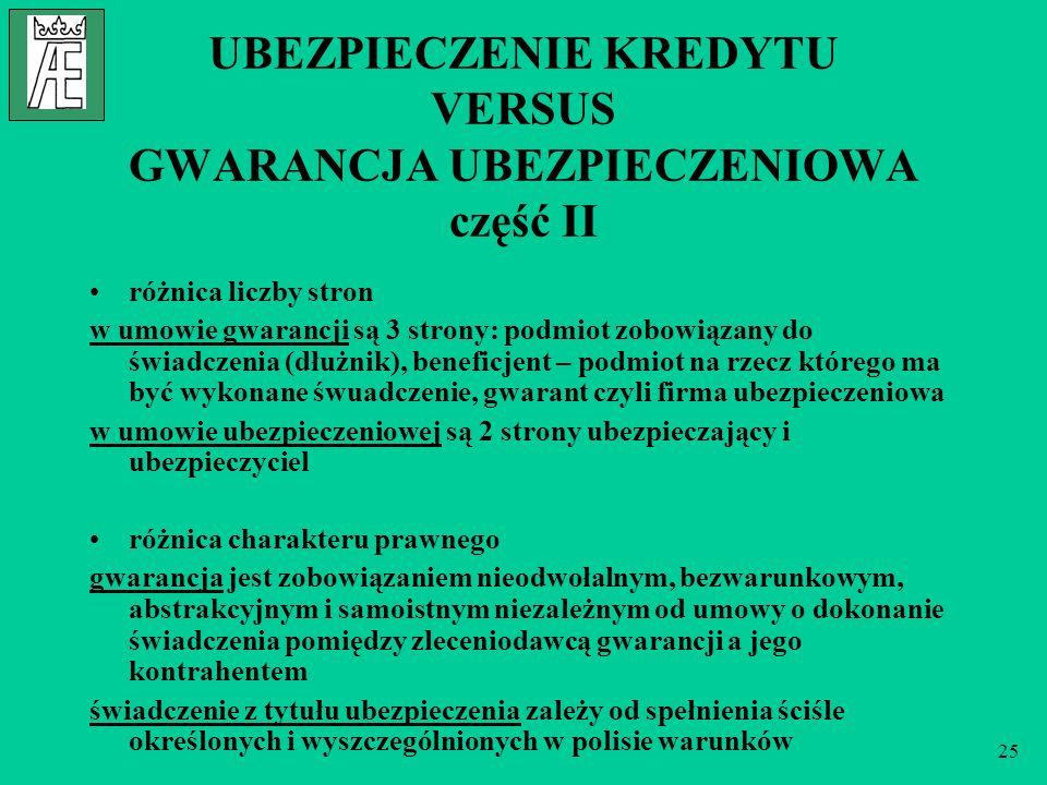 25 UBEZPIECZENIE KREDYTU VERSUS GWARANCJA UBEZPIECZENIOWA część II różnica liczby stron w umowie gwarancji są 3 strony: podmiot zobowiązany do świadcz