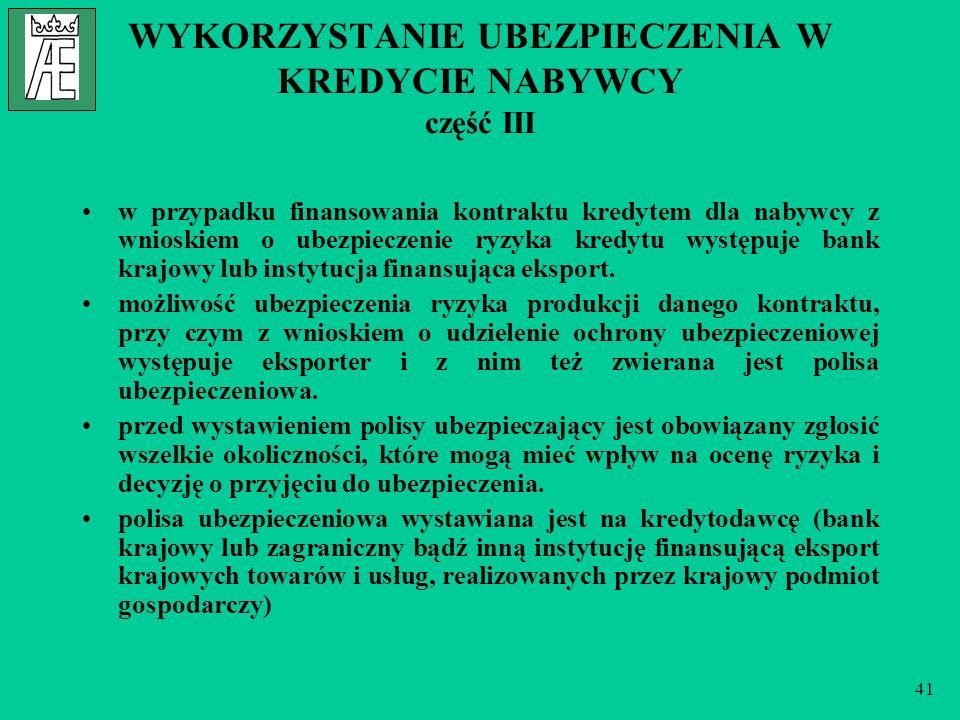 41 WYKORZYSTANIE UBEZPIECZENIA W KREDYCIE NABYWCY część III w przypadku finansowania kontraktu kredytem dla nabywcy z wnioskiem o ubezpieczenie ryzyka