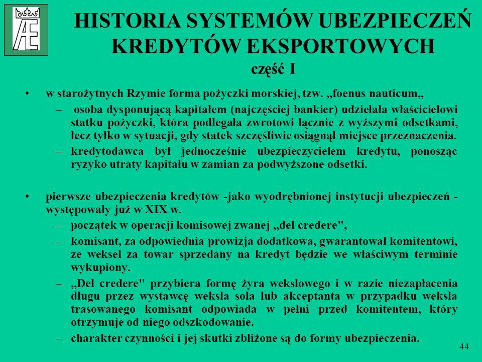 44 HISTORIA SYSTEMÓW UBEZPIECZEŃ KREDYTÓW EKSPORTOWYCH część I w starożytnych Rzymie forma pożyczki morskiej, tzw.,,foenus nauticum – osoba dysponując