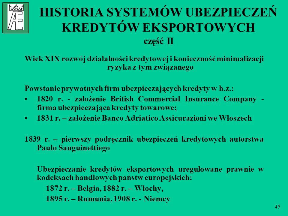 45 HISTORIA SYSTEMÓW UBEZPIECZEŃ KREDYTÓW EKSPORTOWYCH część II Wiek XIX rozwój działalności kredytowej i konieczność minimalizacji ryzyka z tym związ