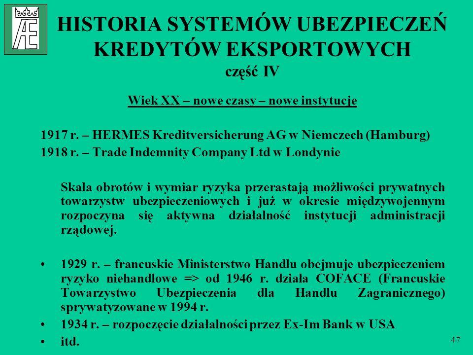 47 HISTORIA SYSTEMÓW UBEZPIECZEŃ KREDYTÓW EKSPORTOWYCH część IV Wiek XX – nowe czasy – nowe instytucje 1917 r. – HERMES Kreditversicherung AG w Niemcz