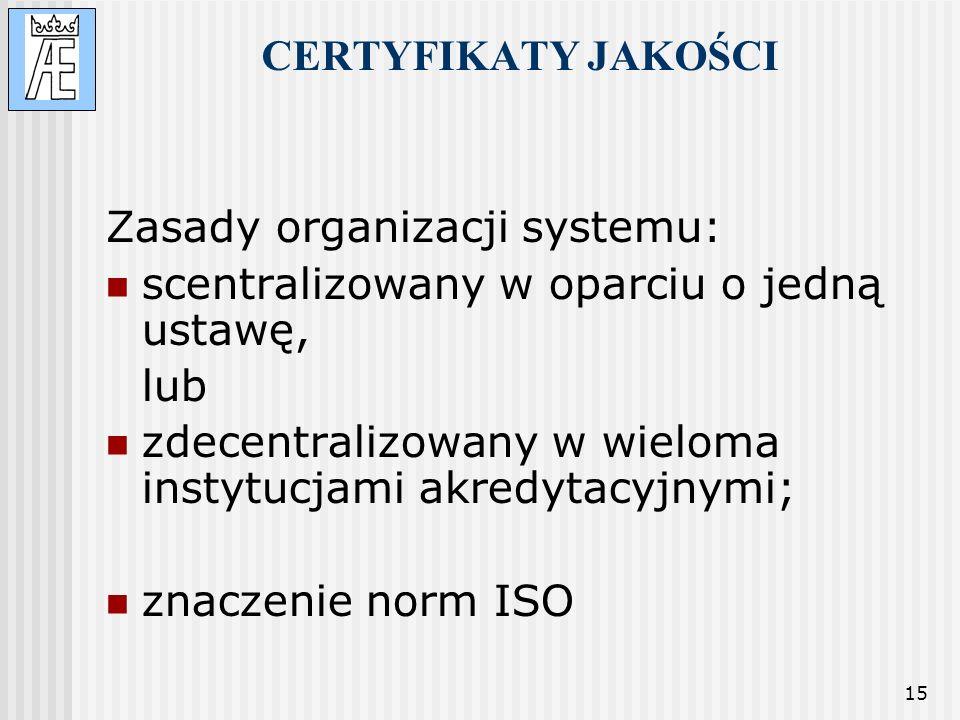 15 CERTYFIKATY JAKOŚCI Zasady organizacji systemu: scentralizowany w oparciu o jedną ustawę, lub zdecentralizowany w wieloma instytucjami akredytacyjn