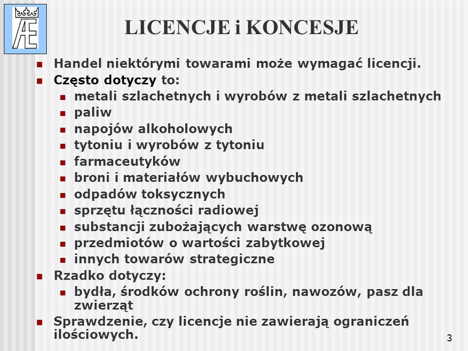 3 LICENCJE i KONCESJE Handel niektórymi towarami może wymagać licencji. Często dotyczy to: metali szlachetnych i wyrobów z metali szlachetnych paliw n