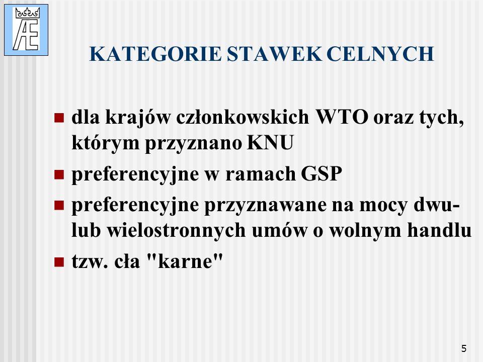 5 KATEGORIE STAWEK CELNYCH dla krajów członkowskich WTO oraz tych, którym przyznano KNU preferencyjne w ramach GSP preferencyjne przyznawane na mocy d