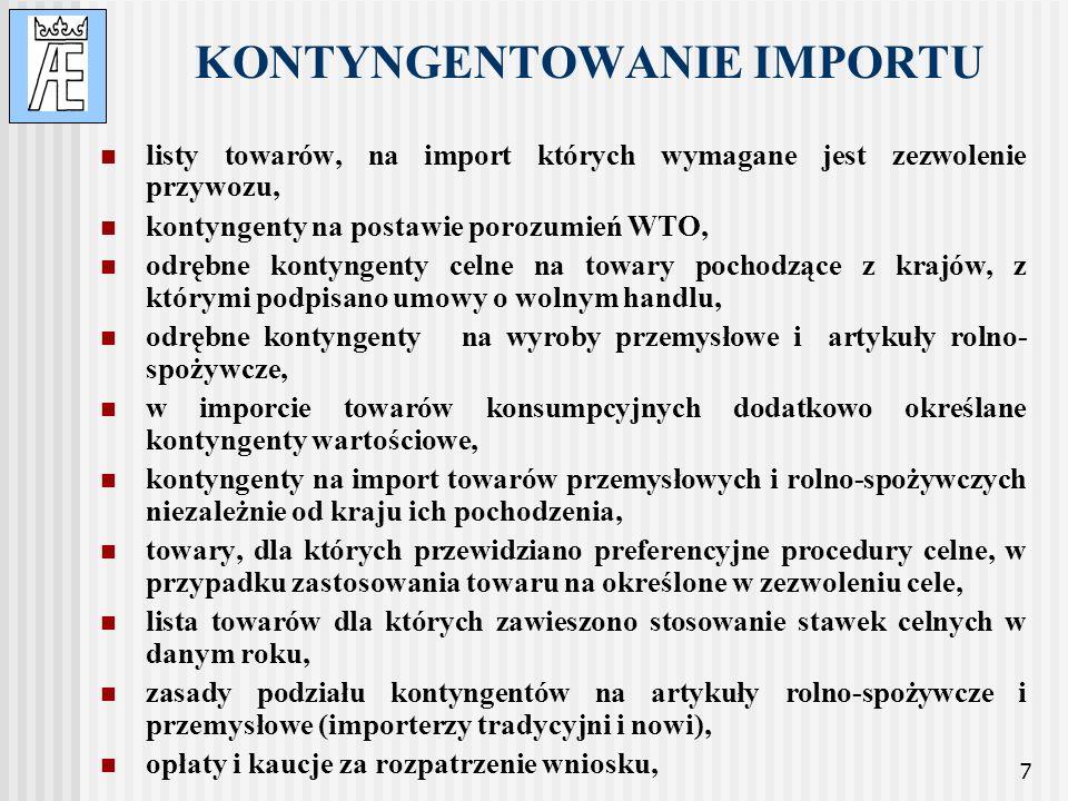 7 KONTYNGENTOWANIE IMPORTU listy towarów, na import których wymagane jest zezwolenie przywozu, kontyngenty na postawie porozumień WTO, odrębne kontyng