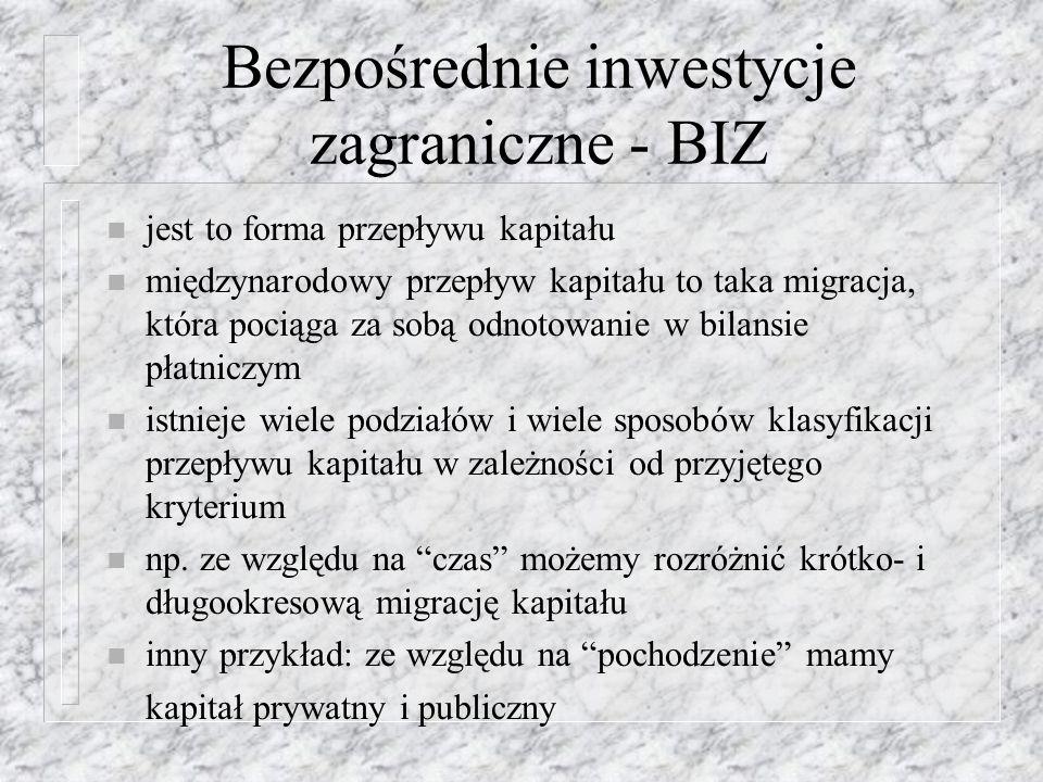 BIZ w Polsce Na spadek napływu bezpośrednich inwestycji do Polski złożyły się przyczyny: n mniejsze wpływy z prywatyzacji, zmniejszenie zakresu atrakcyjności oferty prywatyzacyjnej, n pogorszenie się ogólnej sytuacji gospodarczej (pogorszenie się wskaźników makroekonomicznych), n narastająca konkurencyjność krajów Europy Środkowej i Wschodniej, zwłaszcza Czech, Słowacji i Węgier, n zmiany przepisów wewnętrznych w Polsce, dotyczących miedzy innymi specjalnych stref ekonomicznych,