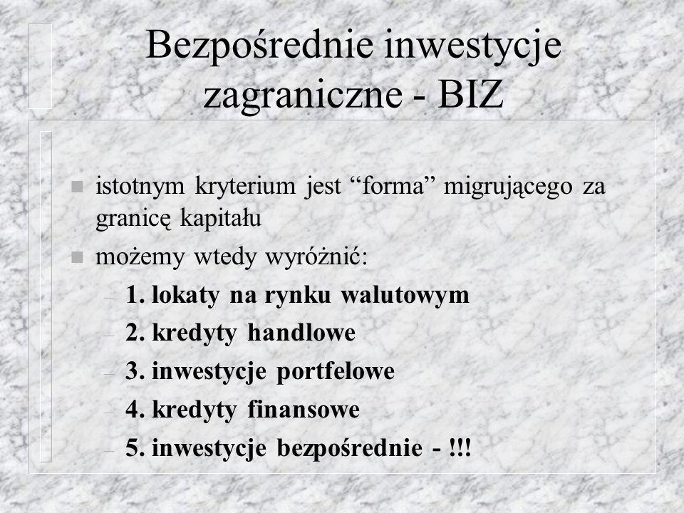 BIZ w Polsce n spowolnienie wzrostu gospodarczego w USA (po zamachach terrorystycznych) i w Niemczech, n słaby system promocji Polski za granicą, brak aktywnej polityki przyciągania inwestycji, n brak wielkich projektów inwestycyjnych typu greenfield, n krytyczna ocena gospodarki polskiej dokonana przez Komisję Europejską (uznanie zbyt wysokiego poziomu stóp procentowych i prognozy utrzymywania się niskiego tempa wzrostu gospodarczego, pogarszanie się sytuacji na rynku pracy, umacnianie się złotego) n konflikty z podmiotami zagranicznymi inwestującymi w Polsce, m.in.
