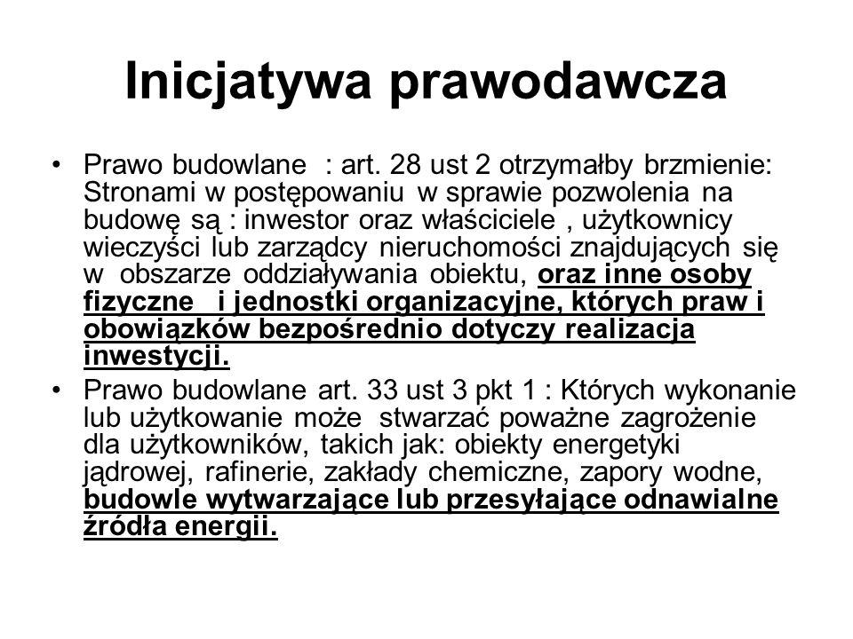 Inicjatywa prawodawcza Prawo budowlane : art. 28 ust 2 otrzymałby brzmienie: Stronami w postępowaniu w sprawie pozwolenia na budowę są : inwestor oraz