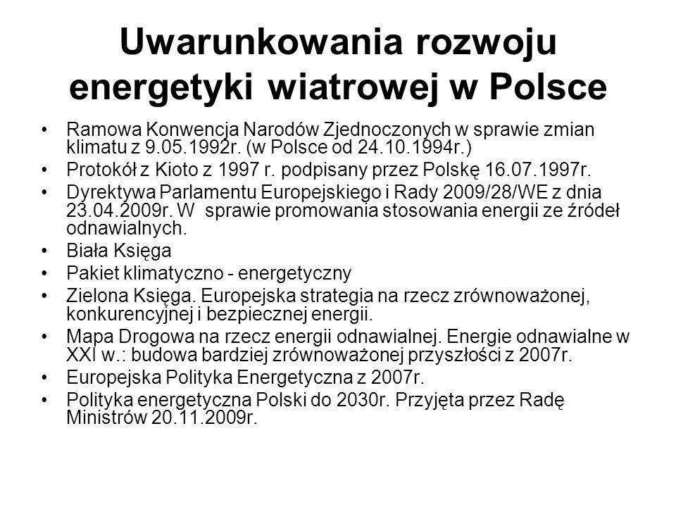 Uwarunkowania rozwoju energetyki wiatrowej w Polsce Ramowa Konwencja Narodów Zjednoczonych w sprawie zmian klimatu z 9.05.1992r. (w Polsce od 24.10.19