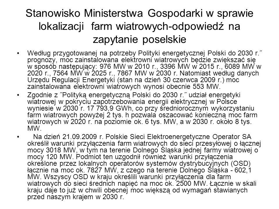 Stanowisko Ministerstwa Gospodarki w sprawie lokalizacji farm wiatrowych-odpowiedź na zapytanie poselskie Według przygotowanej na potrzeby Polityki en
