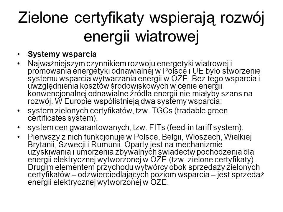 Zielone certyfikaty wspierają rozwój energii wiatrowej Systemy wsparcia Najważniejszym czynnikiem rozwoju energetyki wiatrowej i promowania energetyki