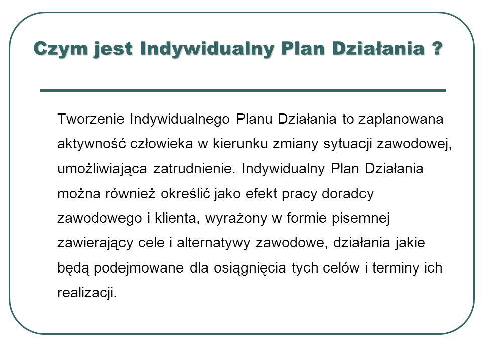 Czym jest Indywidualny Plan Działania ? Tworzenie Indywidualnego Planu Działania to zaplanowana aktywność człowieka w kierunku zmiany sytuacji zawodow