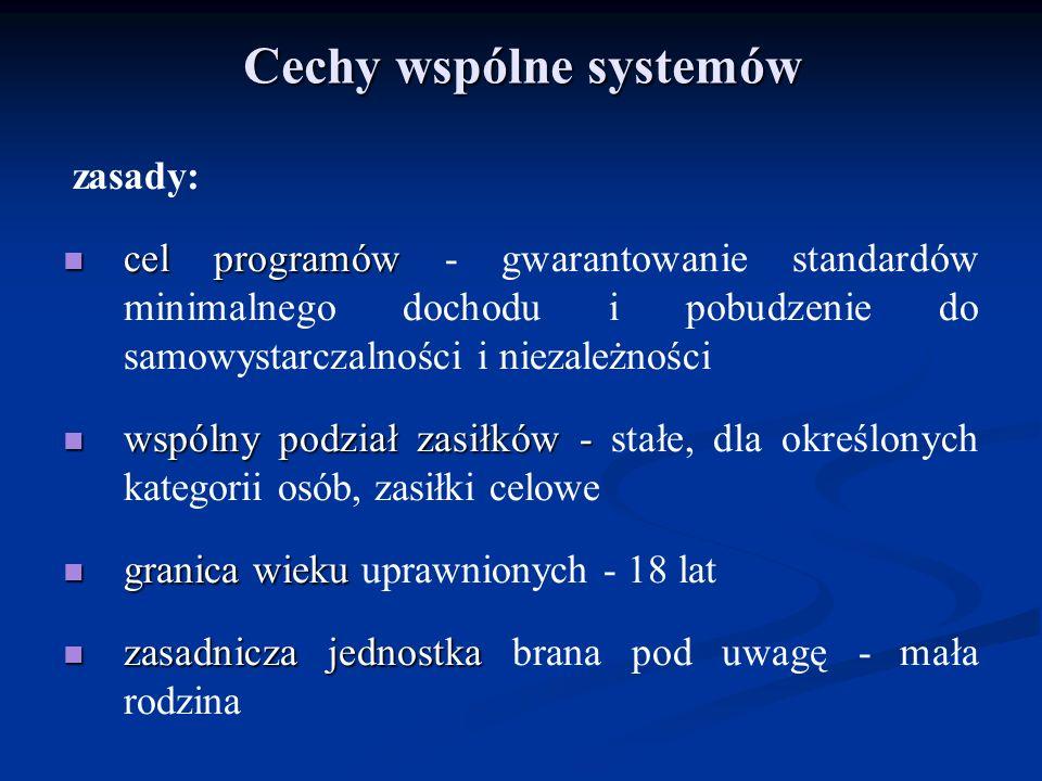 Cechy wspólne systemów zasady: cel programów cel programów - gwarantowanie standardów minimalnego dochodu i pobudzenie do samowystarczalności i niezal