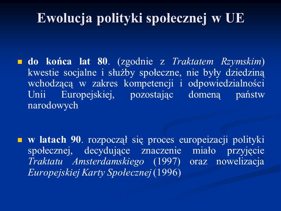 Ewolucja polityki społecznej w UE do końca lat 80. (zgodnie z Traktatem Rzymskim) kwestie socjalne i służby społeczne, nie były dziedziną wchodzącą w