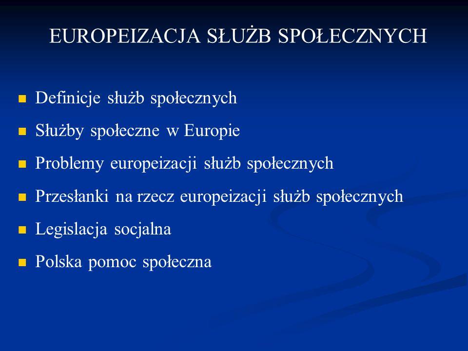 EUROPEIZACJA SŁUŻB SPOŁECZNYCH Definicje służb społecznych Służby społeczne w Europie Problemy europeizacji służb społecznych Przesłanki na rzecz euro