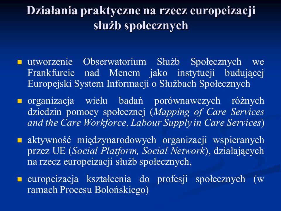 Działania praktyczne na rzecz europeizacji służb społecznych utworzenie Obserwatorium Służb Społecznych we Frankfurcie nad Menem jako instytucji buduj