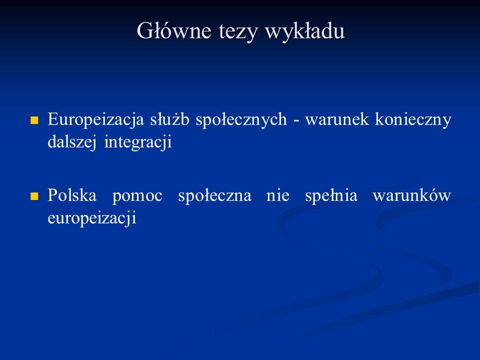 Główne tezy wykładu Europeizacja służb społecznych - warunek konieczny dalszej integracji Polska pomoc społeczna nie spełnia warunków europeizacji