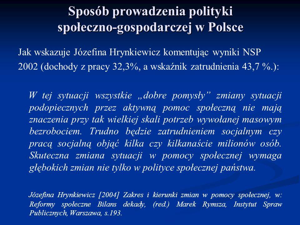 Sposób prowadzenia polityki społeczno-gospodarczej w Polsce Jak wskazuje Józefina Hrynkiewicz komentując wyniki NSP 2002 (dochody z pracy 32,3%, a wsk