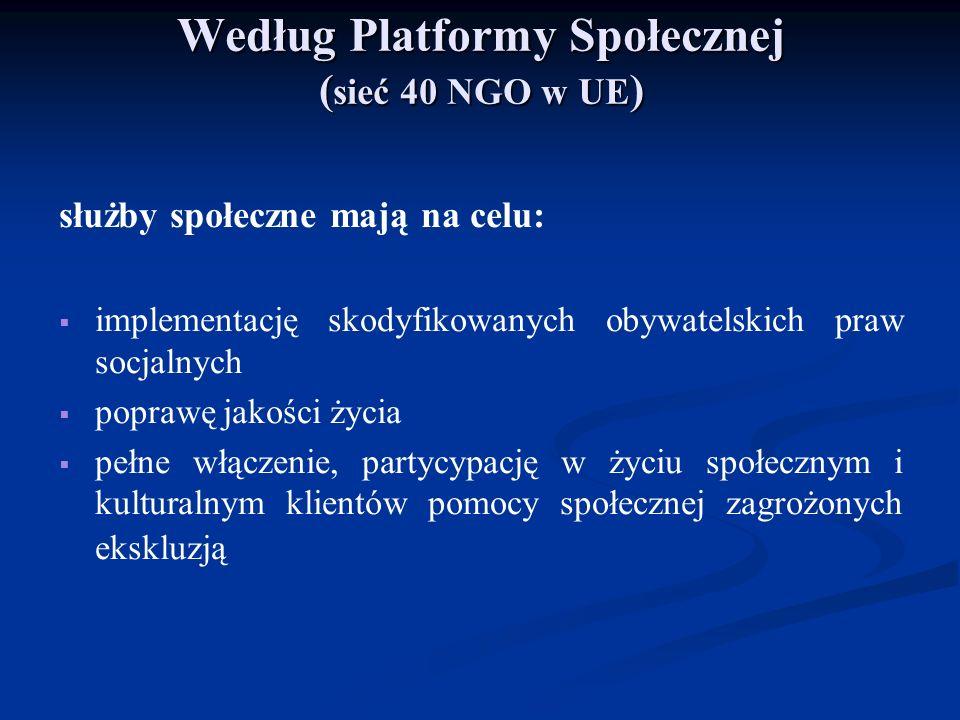 Według Platformy Społecznej ( sieć 40 NGO w UE ) służby społeczne mają na celu: implementację skodyfikowanych obywatelskich praw socjalnych poprawę ja