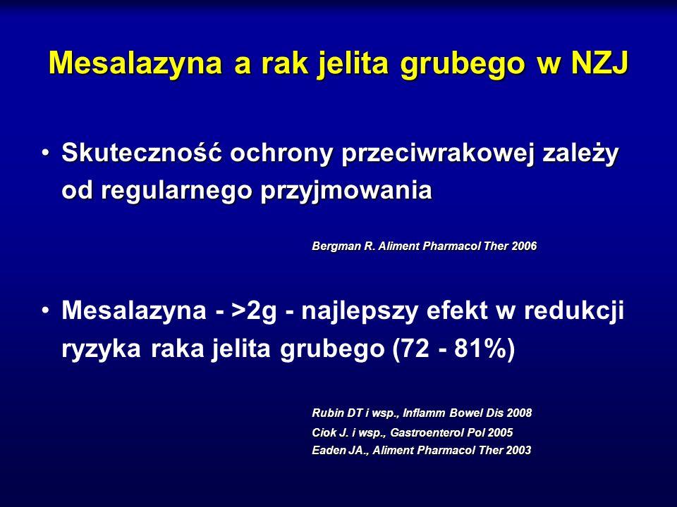 Mesalazyna a rak jelita grubego w NZJ Skuteczność ochrony przeciwrakowej zależy od regularnego przyjmowaniaSkuteczność ochrony przeciwrakowej zależy o