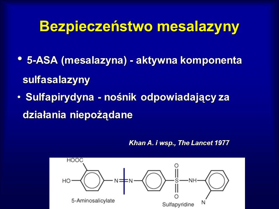 Bezpieczeństwo mesalazyny 5-ASA (mesalazyna) - aktywna komponenta sulfasalazyny 5-ASA (mesalazyna) - aktywna komponenta sulfasalazyny Sulfapirydyna -