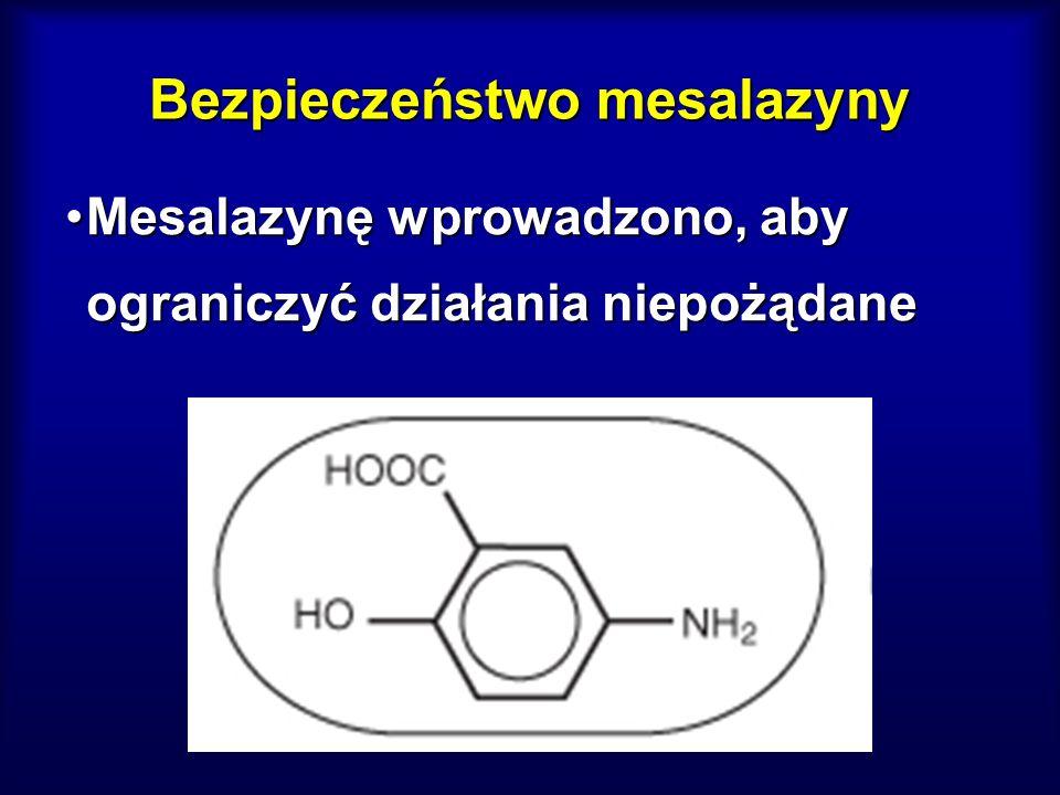 Bezpieczeństwo mesalazyny Mesalazynę wprowadzono, aby ograniczyć działania niepożądaneMesalazynę wprowadzono, aby ograniczyć działania niepożądane Bar