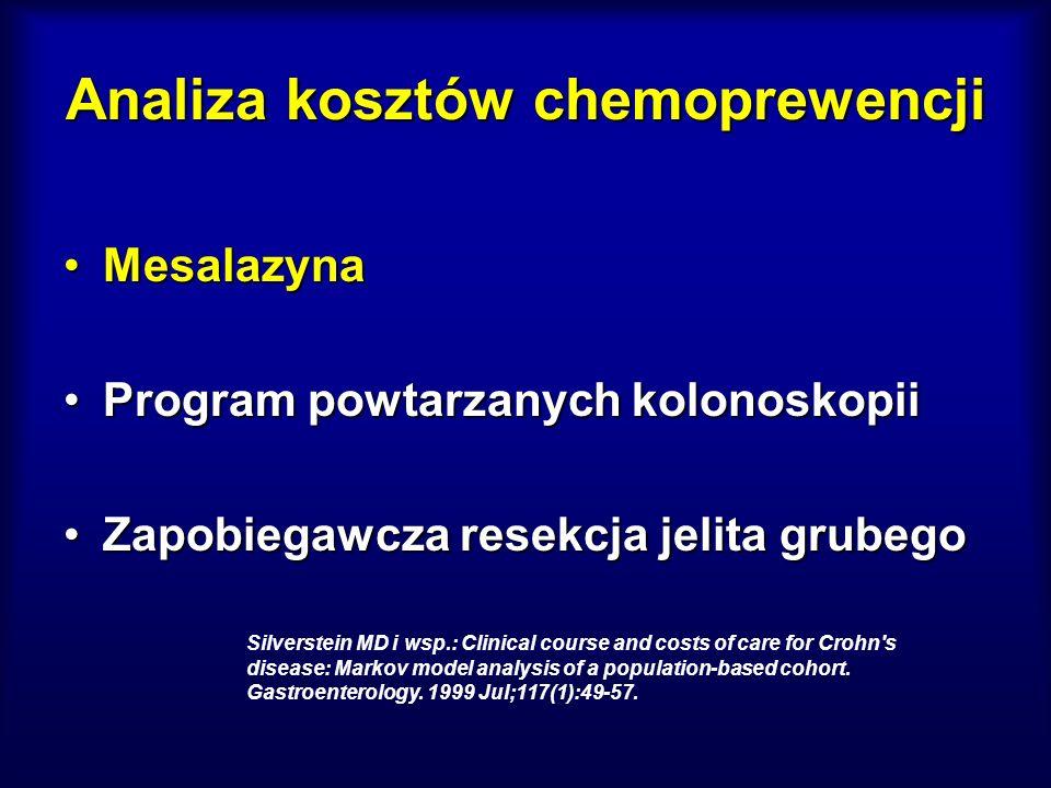 Analiza kosztów chemoprewencji MesalazynaMesalazyna Program powtarzanych kolonoskopiiProgram powtarzanych kolonoskopii Zapobiegawcza resekcja jelita g