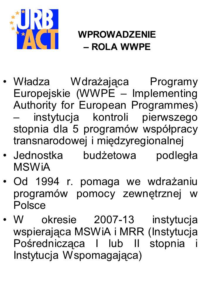 WPROWADZENIE – ROLA WWPE Władza Wdrażająca Programy Europejskie (WWPE – Implementing Authority for European Programmes) – instytucja kontroli pierwszego stopnia dla 5 programów współpracy transnarodowej i międzyregionalnej Jednostka budżetowa podległa MSWiA Od 1994 r.