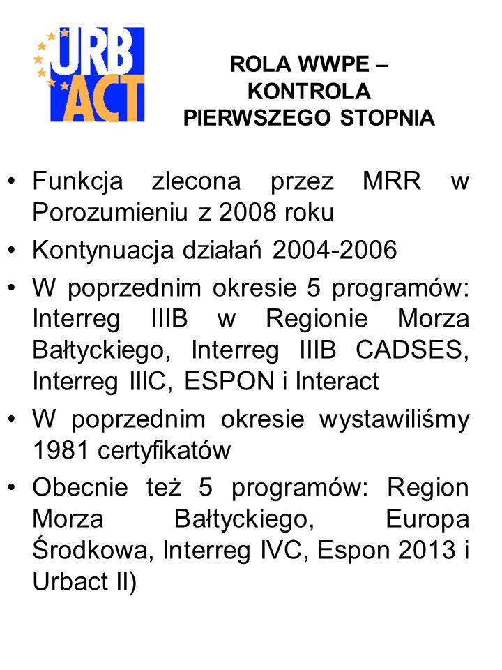 URBACT II - STRUKTURA INSTYTUCJONALNA We Francji zlokalizowane są główne instytucje programu: - Instytucja Zarządzająca - Wspólny Sekretariat Techniczny -Instytucja Certyfikująca -Instytucja Audytowa W Polsce: -instytucja koordynująca: Ministerstwo Rozwoju Regionalnego -instytucja kontroli pierwszego stopnia: WWPE
