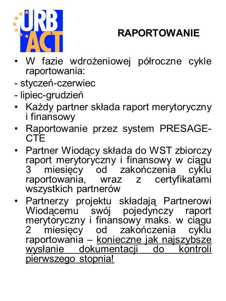 RAPORTOWANIE W fazie wdrożeniowej półroczne cykle raportowania: - styczeń-czerwiec - lipiec-grudzień Każdy partner składa raport merytoryczny i finansowy Raportowanie przez system PRESAGE- CTE Partner Wiodący składa do WST zbiorczy raport merytoryczny i finansowy w ciągu 3 miesięcy od zakończenia cyklu raportowania, wraz z certyfikatami wszystkich partnerów Partnerzy projektu składają Partnerowi Wiodącemu swój pojedynczy raport merytoryczny i finansowy maks.