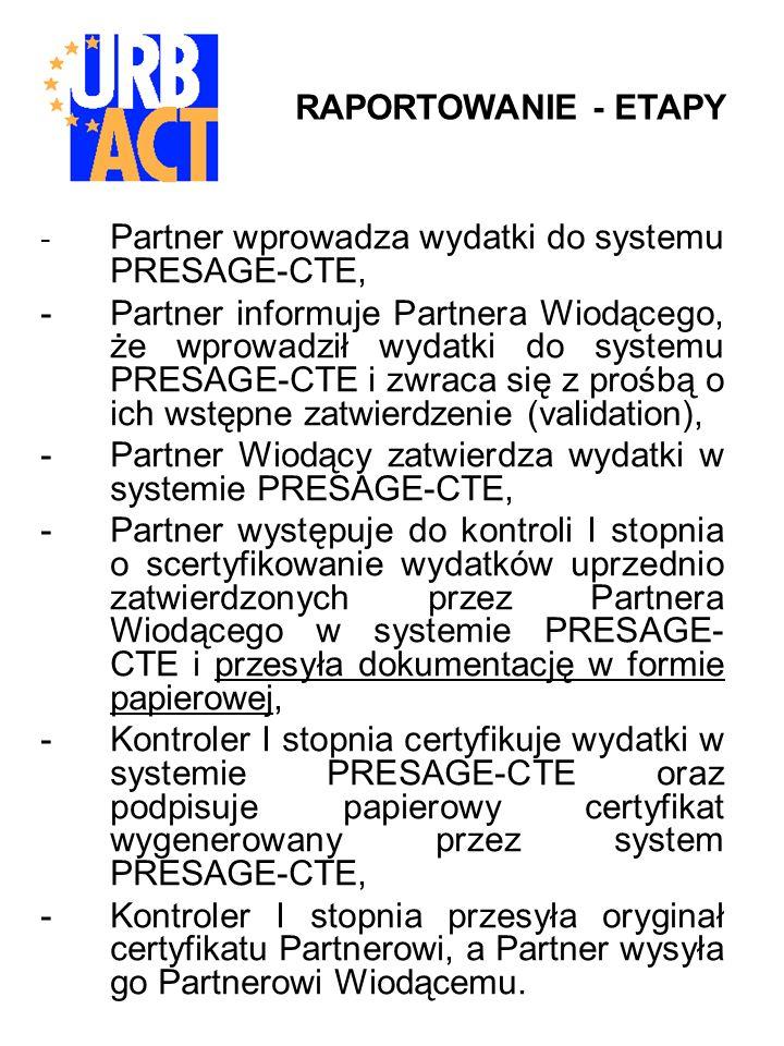 - Partner wprowadza wydatki do systemu PRESAGE-CTE, -Partner informuje Partnera Wiodącego, że wprowadził wydatki do systemu PRESAGE-CTE i zwraca się z prośbą o ich wstępne zatwierdzenie (validation), -Partner Wiodący zatwierdza wydatki w systemie PRESAGE-CTE, -Partner występuje do kontroli I stopnia o scertyfikowanie wydatków uprzednio zatwierdzonych przez Partnera Wiodącego w systemie PRESAGE- CTE i przesyła dokumentację w formie papierowej, -Kontroler I stopnia certyfikuje wydatki w systemie PRESAGE-CTE oraz podpisuje papierowy certyfikat wygenerowany przez system PRESAGE-CTE, -Kontroler I stopnia przesyła oryginał certyfikatu Partnerowi, a Partner wysyła go Partnerowi Wiodącemu.