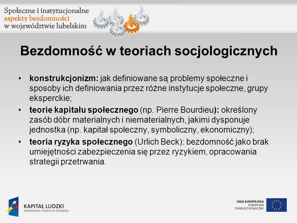 Bezdomność w teoriach socjologicznych konstrukcjonizm: jak definiowane są problemy społeczne i sposoby ich definiowania przez różne instytucje społecz