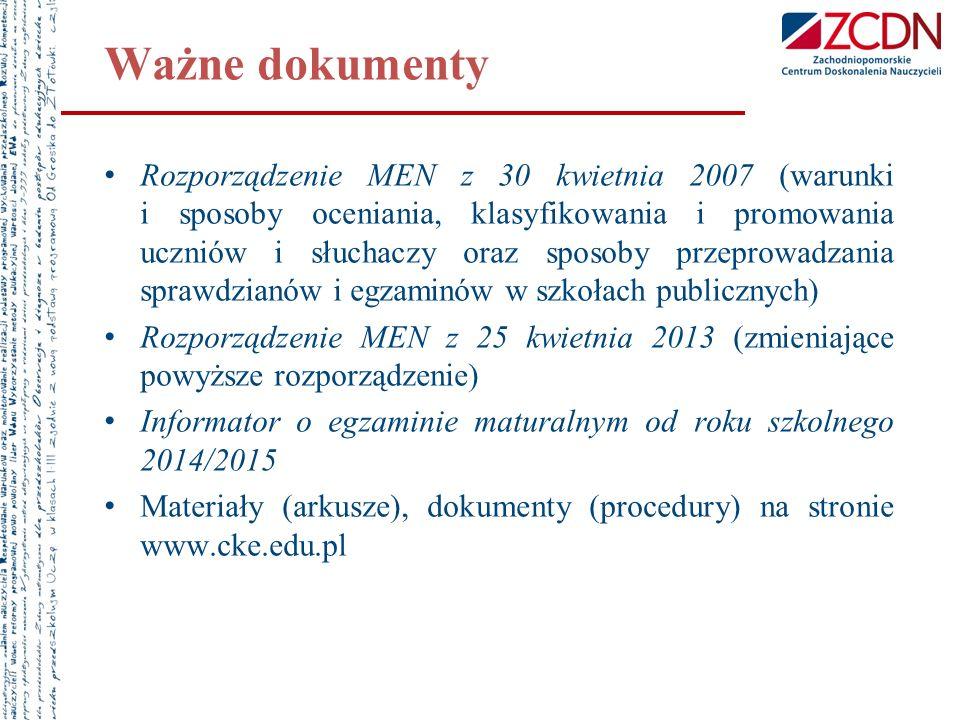 Ważne dokumenty Rozporządzenie MEN z 30 kwietnia 2007 (warunki i sposoby oceniania, klasyfikowania i promowania uczniów i słuchaczy oraz sposoby przep