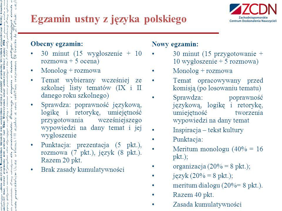 Egzamin ustny z języka polskiego Obecny egzamin: 30 minut (15 wygłoszenie + 10 rozmowa + 5 ocena) Monolog + rozmowa Temat wybierany wcześniej ze szkol