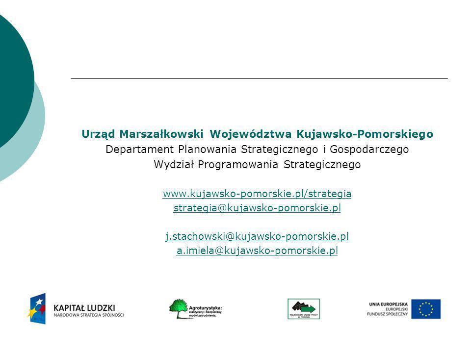 Urząd Marszałkowski Województwa Kujawsko-Pomorskiego Departament Planowania Strategicznego i Gospodarczego Wydział Programowania Strategicznego www.ku