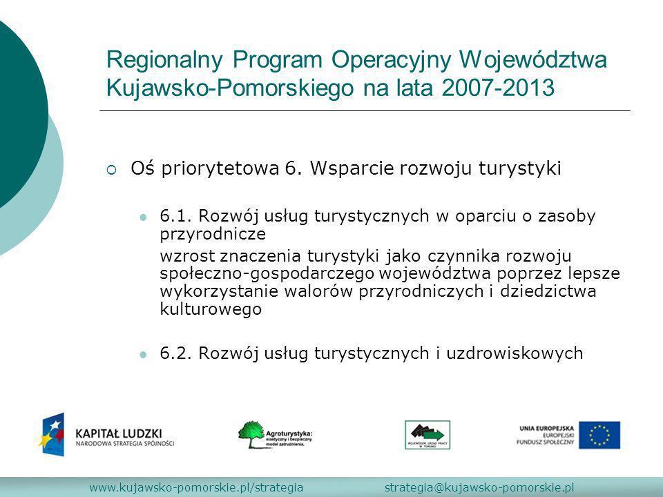 Regionalny Program Operacyjny Województwa Kujawsko-Pomorskiego na lata 2007-2013 Oś priorytetowa 6. Wsparcie rozwoju turystyki 6.1. Rozwój usług turys