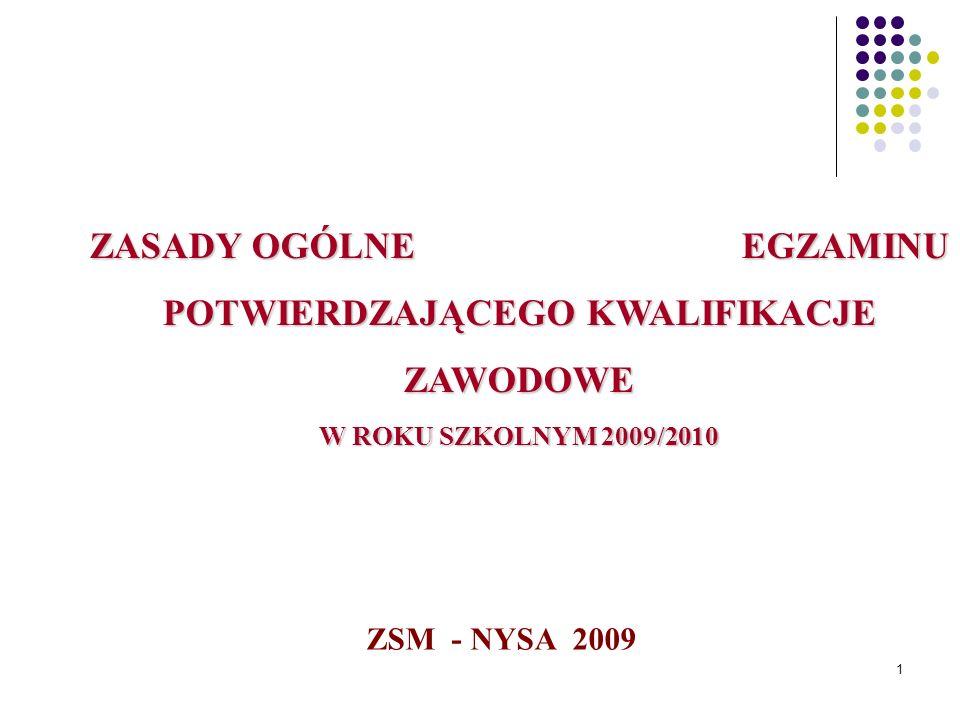 1 ZASADY OGÓLNE EGZAMINU POTWIERDZAJĄCEGO KWALIFIKACJE ZAWODOWE W ROKU SZKOLNYM 2009/2010 ZSM - NYSA 2009