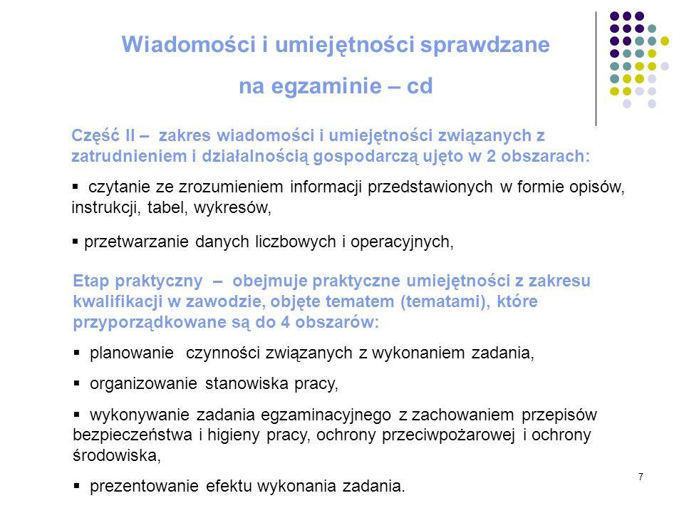 7 Wiadomości i umiejętności sprawdzane na egzaminie – cd Część II – zakres wiadomości i umiejętności związanych z zatrudnieniem i działalnością gospod
