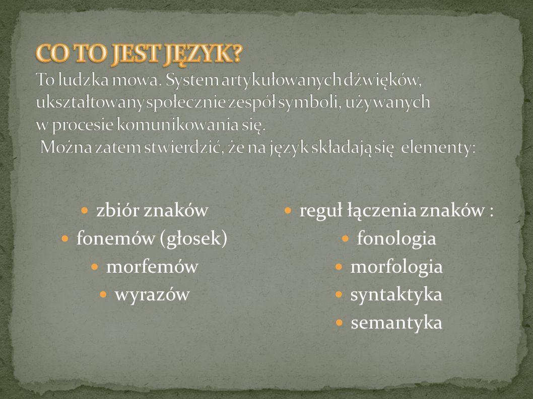 zbiór znaków fonemów (głosek) morfemów wyrazów reguł łączenia znaków : fonologia morfologia syntaktyka semantyka