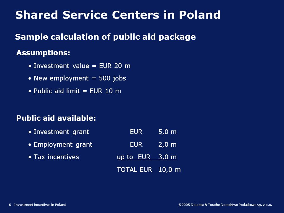 ©2005 Deloitte & Touche Doradztwo Podatkowe sp. z o.o. Tax incentives in Special Economic Zones