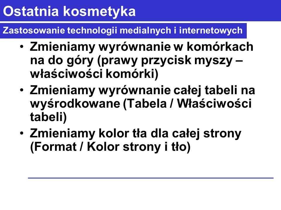 Zastosowanie technologii medialnych i internetowych Ostatnia kosmetyka Zmieniamy wyrównanie w komórkach na do góry (prawy przycisk myszy – właściwości komórki) Zmieniamy wyrównanie całej tabeli na wyśrodkowane (Tabela / Właściwości tabeli) Zmieniamy kolor tła dla całej strony (Format / Kolor strony i tło)